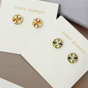 Tory Burch Logo Disc Gold-Plated Earrings
